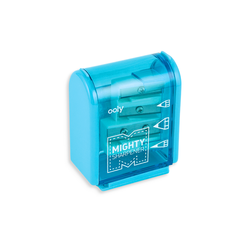 Teal Mighty Pencil Sharpener with clear colored casing