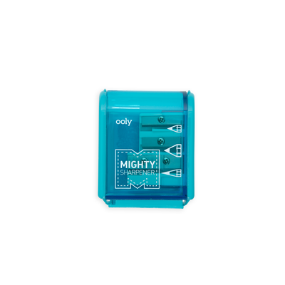 Teal Mighty Pencil Sharpener 3 hole with clear colored casing