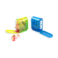 Green and Blue opened Mighty Pencil Sharpener with clear colored casing