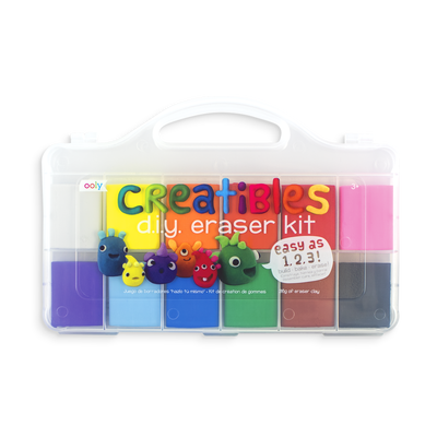 Creatibles DIY Eraser Kit is a simple and complete kit for making your own erasers with 12 different colored clays