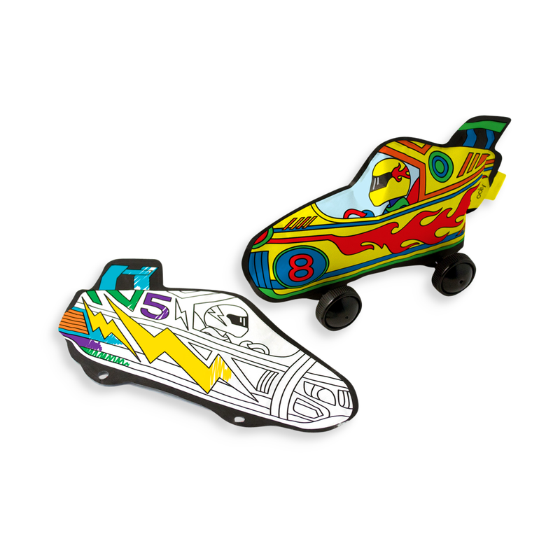 Radical Race Cars 3D Colorables. Color and build your own paper race car.