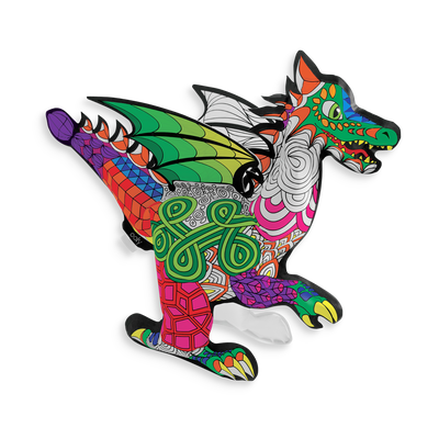 3D Colorables paper dragon. The Fantastic Dragon is fully colorable and inflatable.