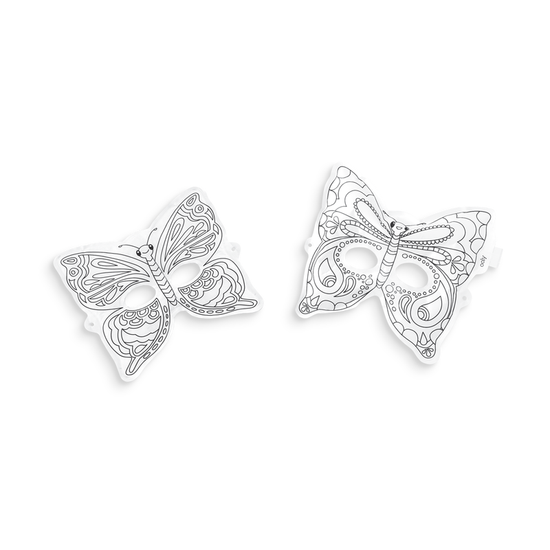 2 uncolored 3D Colorable Breezy Butterfly Masks
