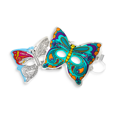 Inflatable, paper butterfly mask from 3D Colorables. Color, inflate and play with Breezy Butterfly Masks.