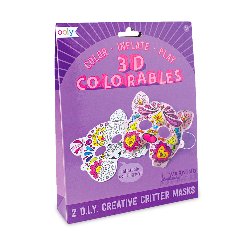 Creative Critters Masks from 3D Colorables. Color, inflate, play.