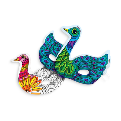 Colored Beautiful Birds 3D Colorables. Set of 2