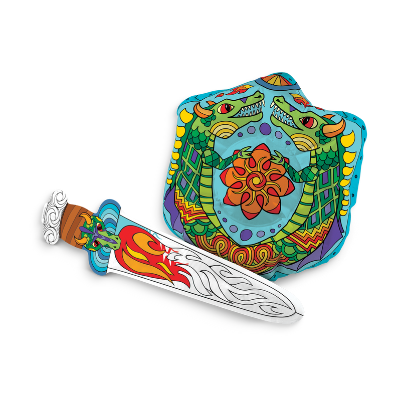 Colored 3D Colorables Dragon Shield and Sword inflatable coloring toy set