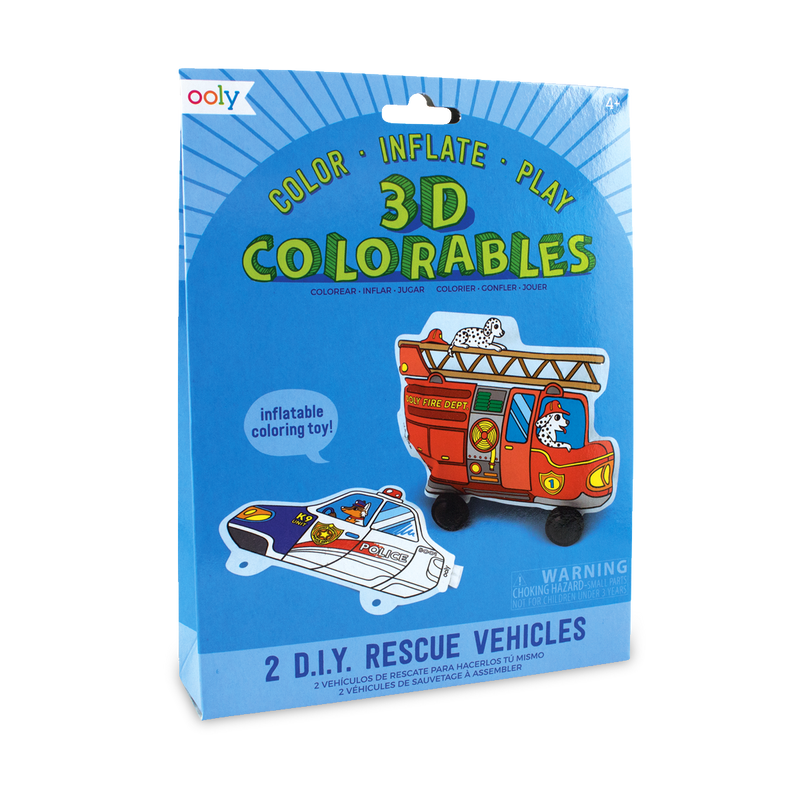 3D Colorables Rescue Vehicles inflatable coloring toy set