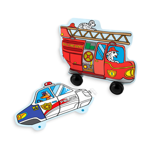 Fire truck and police car inflatable paper coloring toy from 3D Colorables Rescue Vehicles set