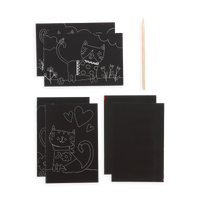 Supplies included in the Cutie Cats Scratch and Scribble Mini Scratch Art Kit