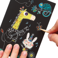 Display artwork of the Safari Party Scratch and Scribble Mini Scratch Art Kit