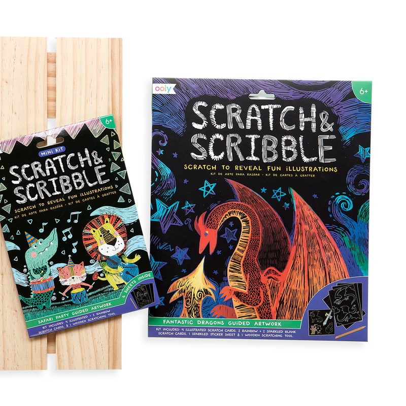 Display image of the OOLY Safari Party Scratch and Scribble Mini Scratch Art Kit next to the original Fantastic Dragons Scratch and Scribble.