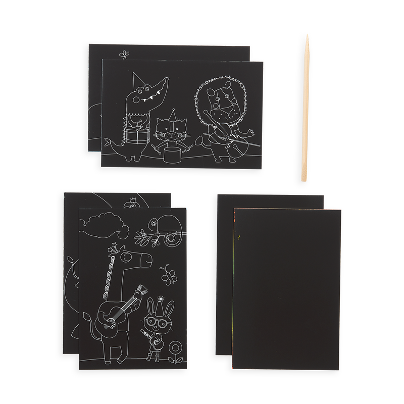 Items included in Safari Party Scratch and Scribble Mini Scratch Art Kit including 6 sheets and a wooden stylus.