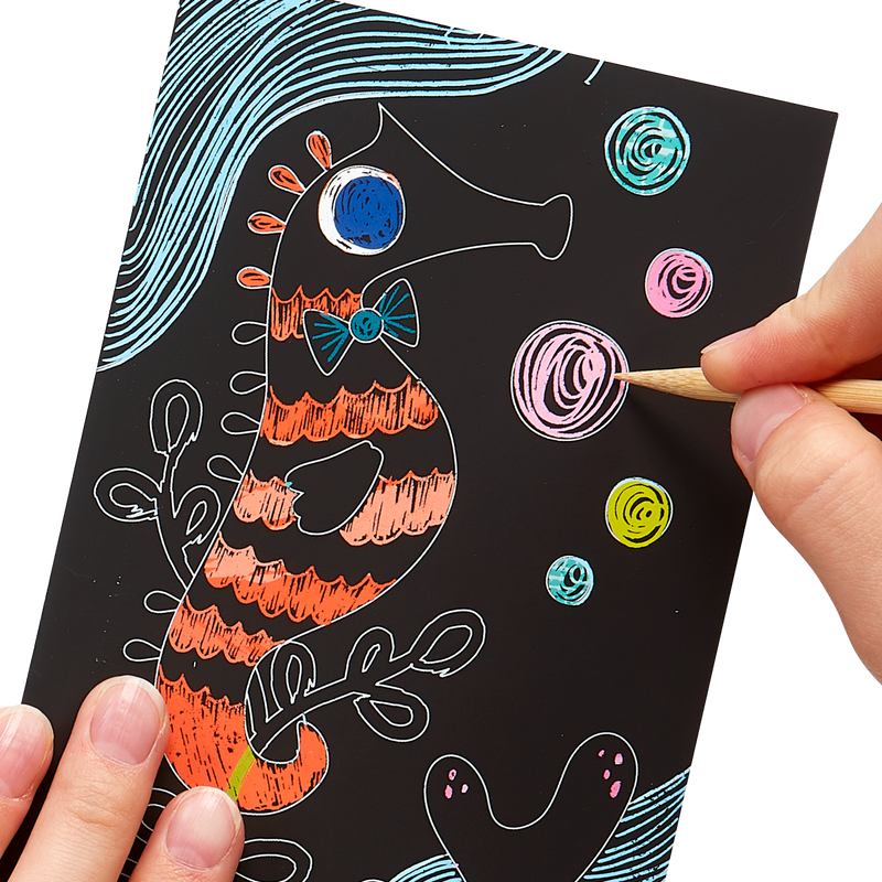 Artwork image of Friendly Fish Scratch and Scribble Mini Scratch Art Kit