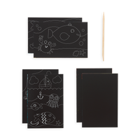 Supplies included in the Friendly Fish Scratch and Scribble Mini Scratch Art Kit includes 6 scratch sheets and a wooden stylus.