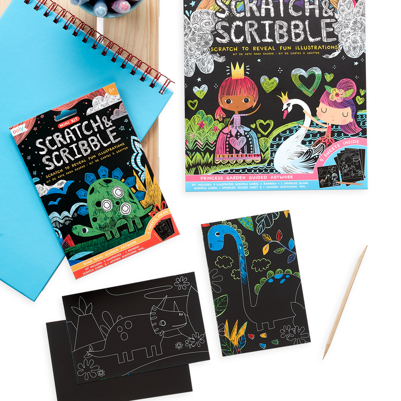 Dinosaur Days Scratch and Scribble Mini Scratch Art Kit next to the Princess Garden Scratch and Scribble Art Kit.