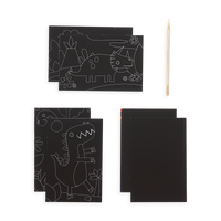 Image of the Dinosaur Days Scratch and Scribble Mini Scratch Art Kit contents which includes 6 sheets and one wooden stylus.