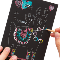 Close up artwork of the Funtastic Friends Scratch and Scribble Mini Scratch Art Kit