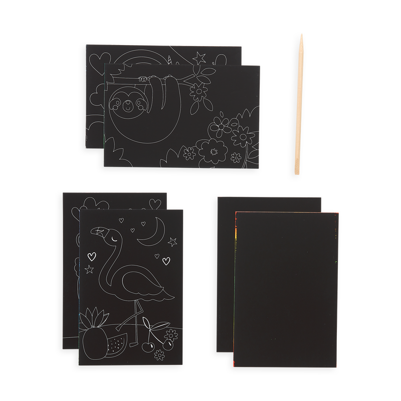 Funtastic Friends Scratch and Scribble Mini Scratch Art Kit package content which includes 6 sheets and a wooden stylus.
