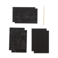 Playful Pups Scratch and Scribble Mini Scratch Art Kit content which includes 6 sheets and a wooden stylus.