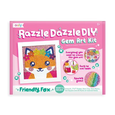 OOLY Razzle Dazzle DIY Gem Art Kit - Friendly Fox in package (front).