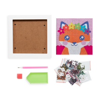 OOLY Razzle Dazzle DIY Gem Art Kit - Friendly Fox out of package showing all items included: white frame, design card, gems and accessory tools.