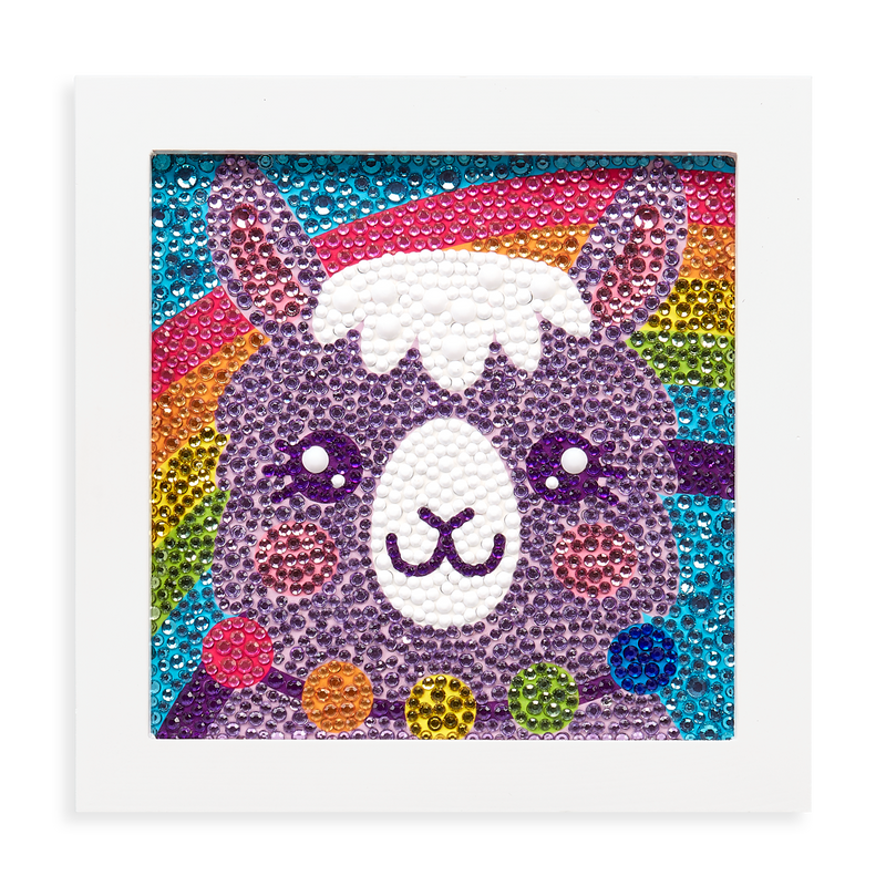 Razzle Dazzle DIY Gem Art Kit - Lovely Llama complete displayed artwork
