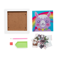 Image displaying all the supplies included in the OOLY Razzle Dazzle DIY Gem Art Kit - Lovely Llama, white frame, sticky art sheet, gems, and accessory tools.