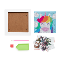 Image of supplies included in the OOLY Razzle Dazzle DIY Gem Art Kit - Unique Unicorns including white frame, artwork, gems and accessory tools.