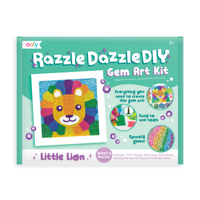 Image of OOLY Razzle Dazzle DIY Gem Art Kit - Lil' Lion front of package.