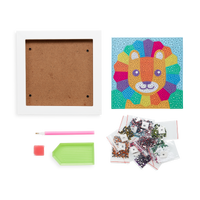 Image of Razzle Dazzle DIY Gem Art Kit - Lil' Lion supplies included white frame, artwork, gems, accessory tool.s