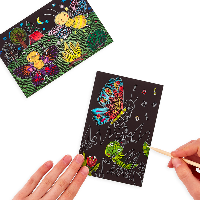 Hands scratching cat artwork of the OOLY Bug Buddies Scratch and Scribble Mini Scratch Art Kit