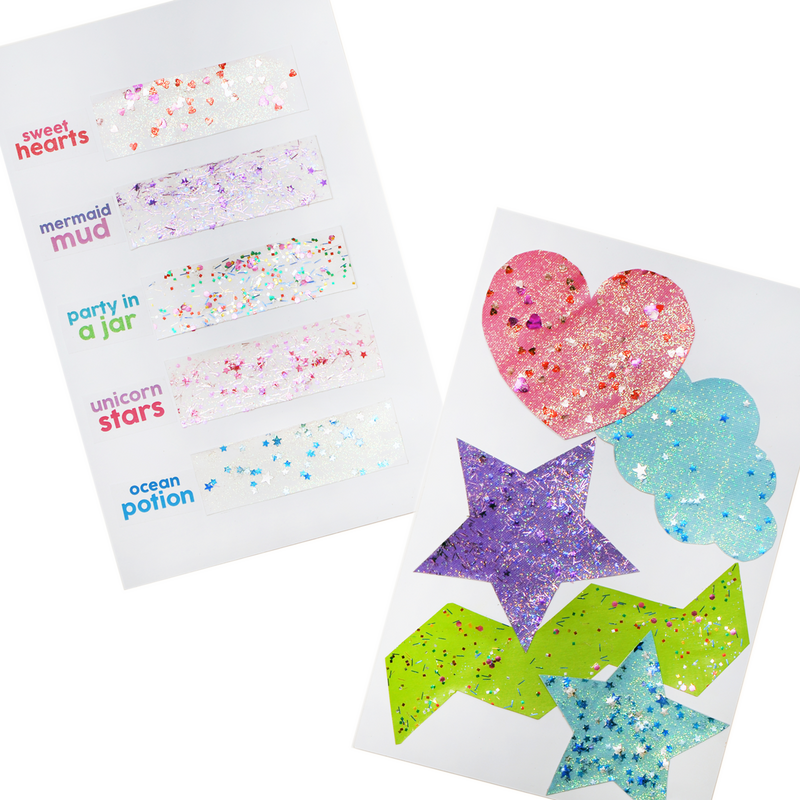 Example art and swatches created with Pixie Paste Glitter Glue