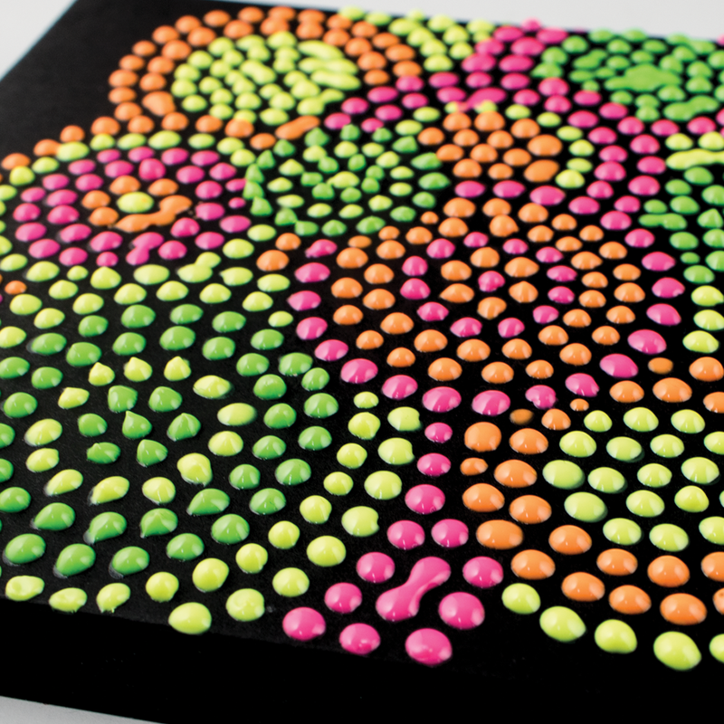 Neon Brights Dot-A-Lot dot painting on black paper