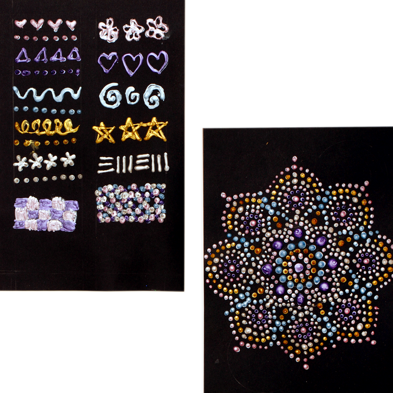 Swatches and example art created with pearlescent dot a lot craft paints on black paper