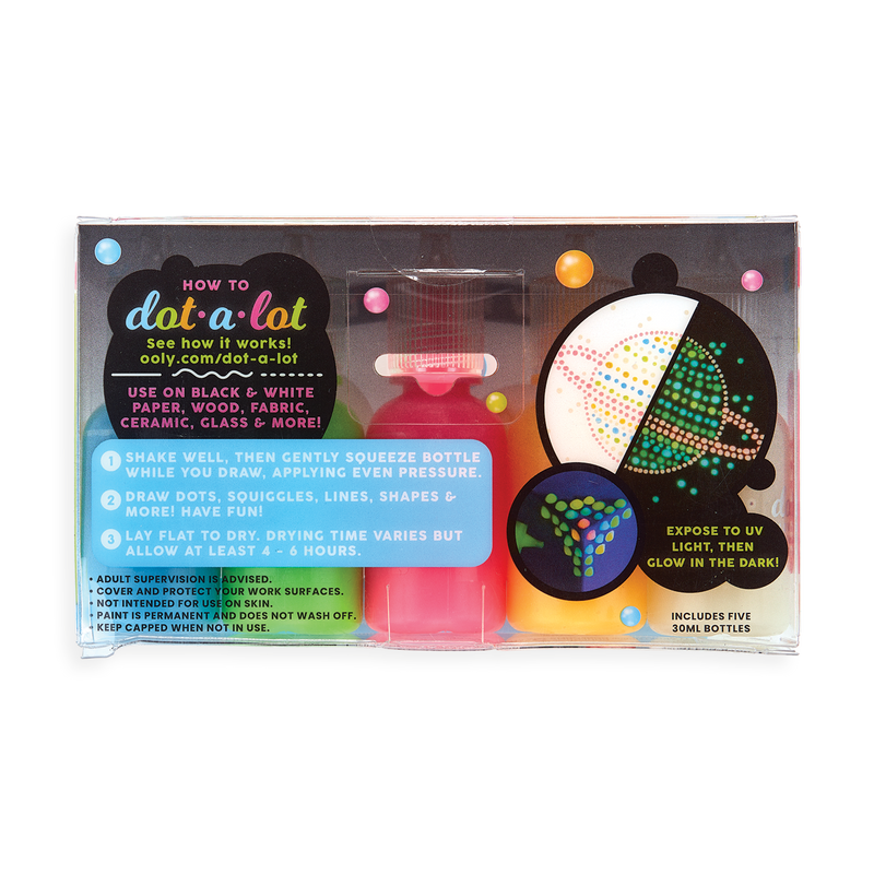 Dot A Lot Craft Paint Glow in the Dark back of package