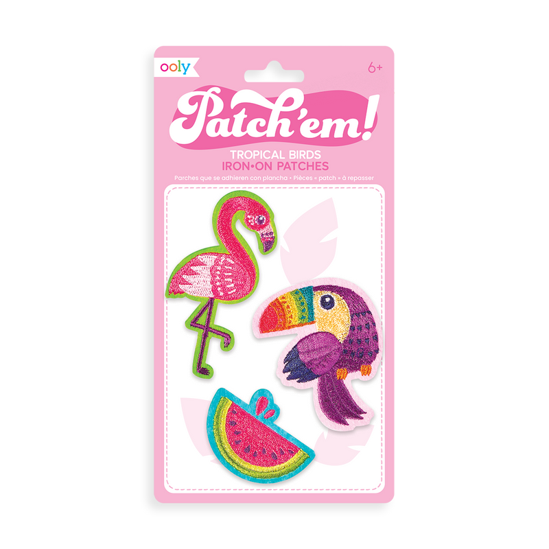 Patch 'em Tropical Birds Iron On Patches - Set of 3