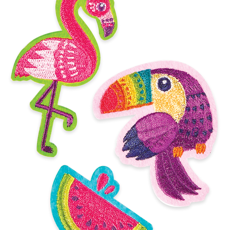 Colorful tropical bird themed iron-on patches with tasty watermelon