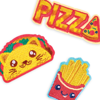 Pizza, taco-cat and french fries iron on patches from OOLY