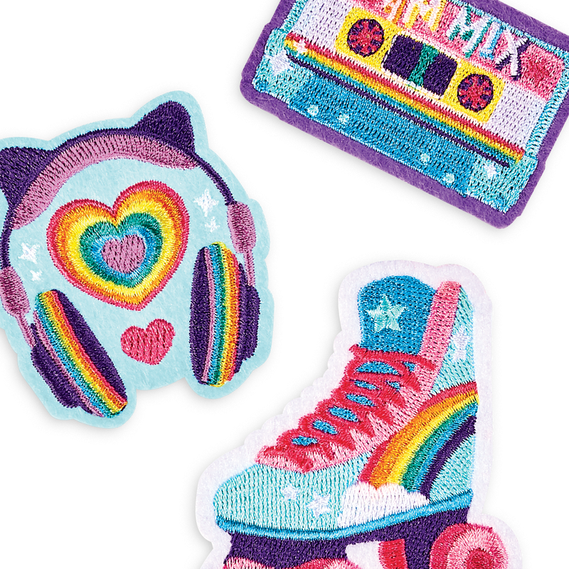 Roller skates and music themed colorful iron on patches from OOLY