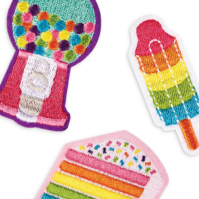 Rainbow treats themed iron on patches with ice cream, cake and gum balls