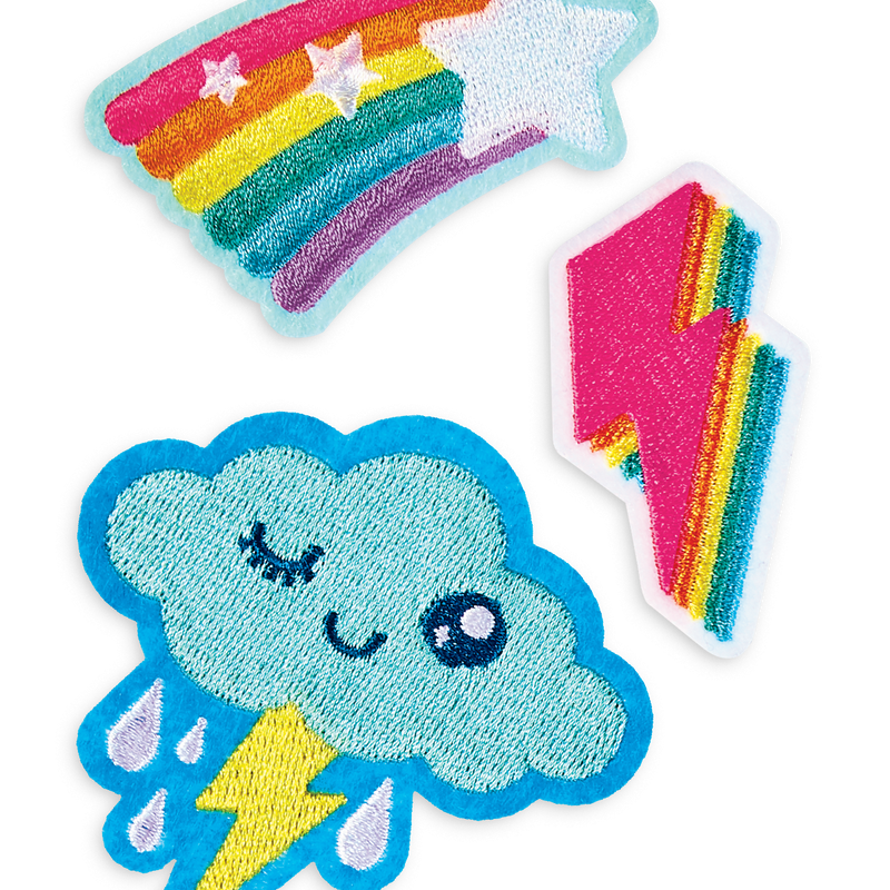 Cute cloud, lightning bolt and star rainbow iron on patches from OOLY