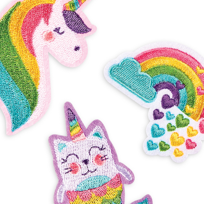 Unicorn, rainbow and narwhal cat iron on patches from OOLY