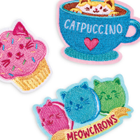 Cat themed iron patches with coffee, macarons and a cupcake