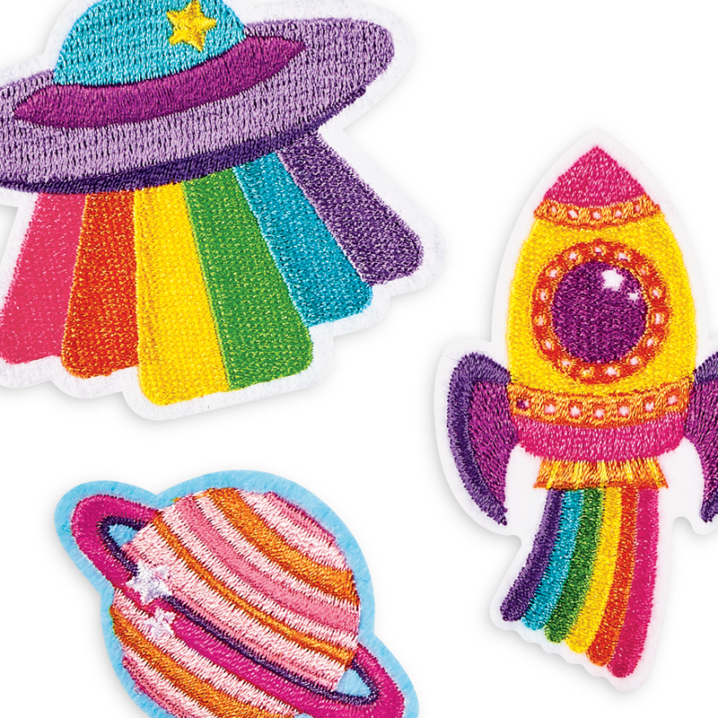 Show your passion for space with Patch 'em Outta This World iron on patches