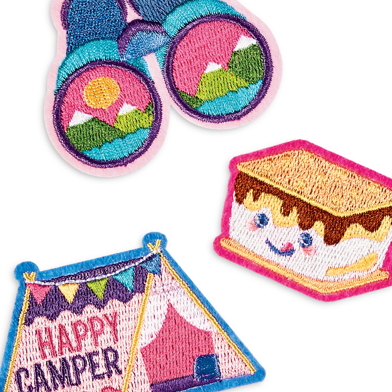 Cute camp themed iron on patches from OOLY