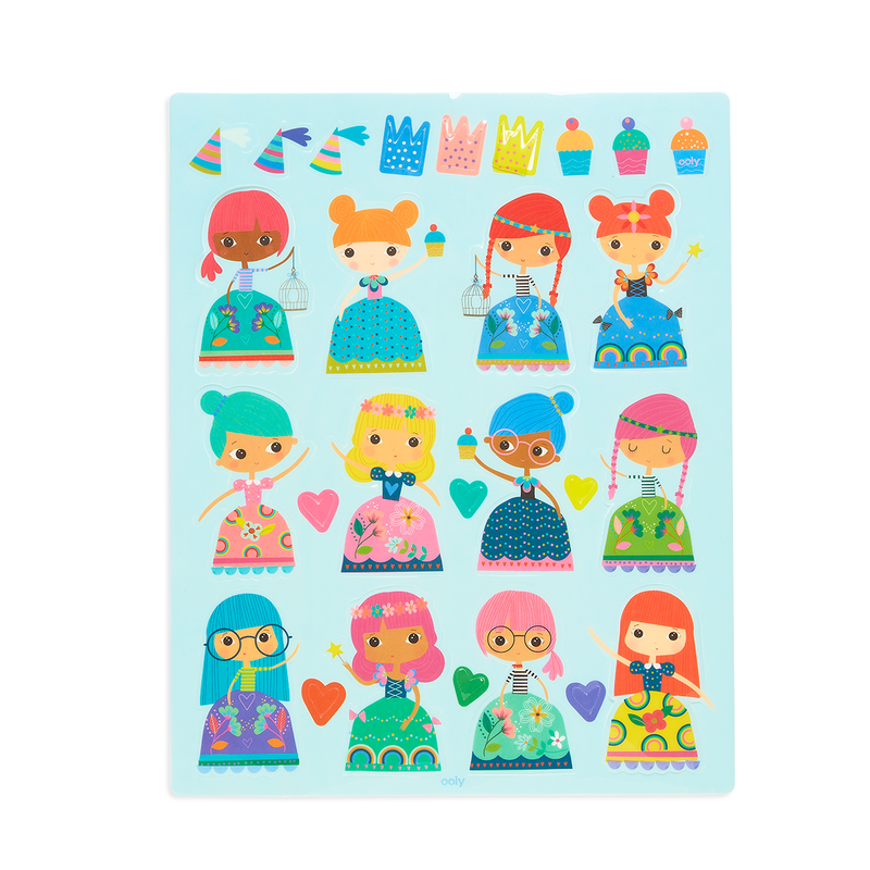 Examples of the princess stickers of the Play Again! Reusable Sticker Scenes - Princess Garden