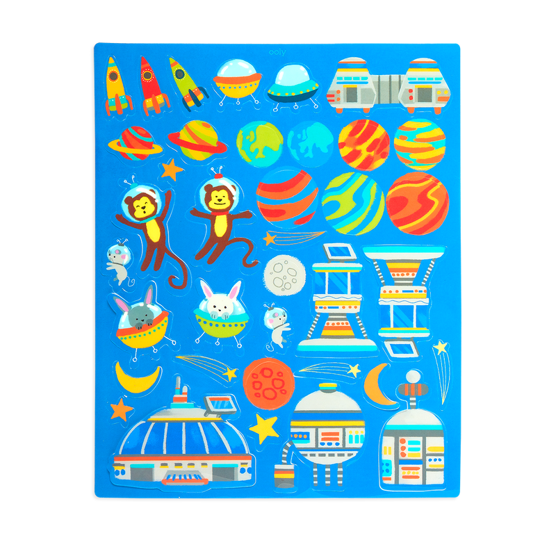 a Sticker page from the Play Again! Reusable Sticker Scenes - Space Critters