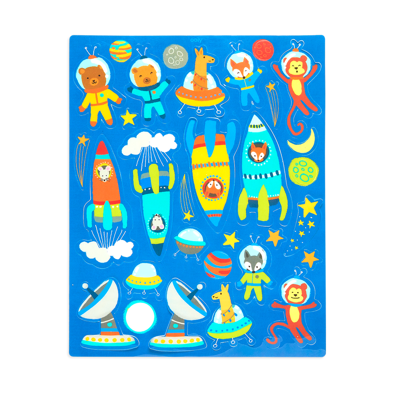 Play Again Reusable Sticker Scenes Space Critters Ooly