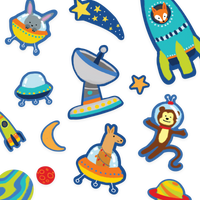 Image of Space Critters Play Again stickers laid out